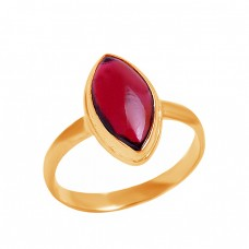 Cabochon Marquise Shape Garnet Gemstone 925 Sterling Silver Ring Jewelry