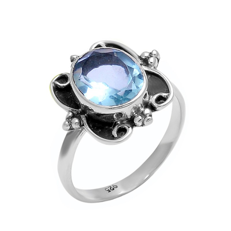 925 Sterling Silver Blue Topaz Faceted Oval Shape Gemstone Black Oxidized Ring Jewelry
