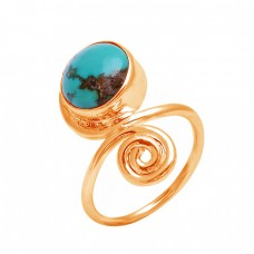 925 Sterling Silver Round Cabochon Turquoise Gemstone Handmade Designer Ring