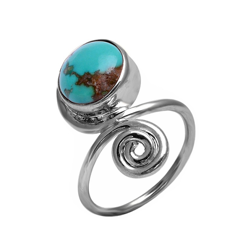 925 Sterling Silver Round Cabochon Turquoise Gemstone Handmade Designer Ring