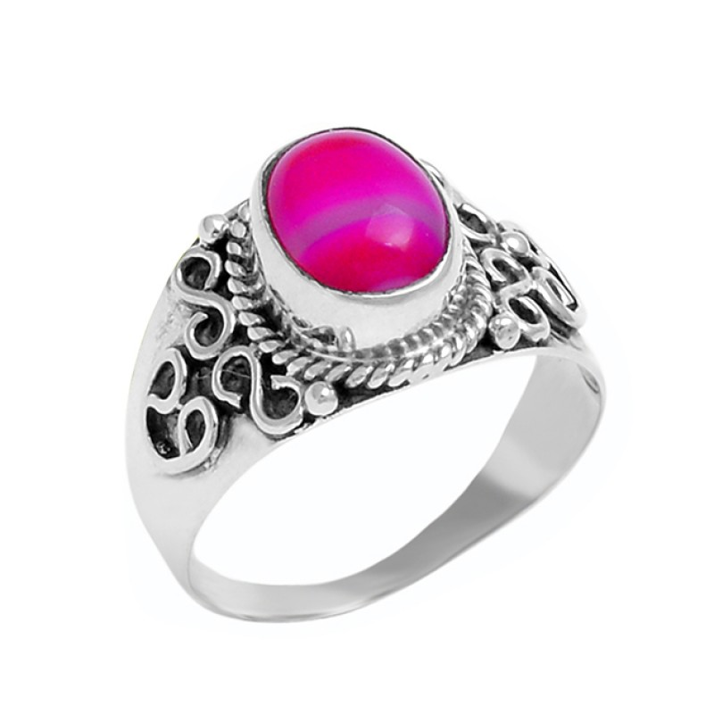 Oval Cabochon Pink Banded Agate Gemstone 925 Silver Black Oxidized Ring Jewelry
