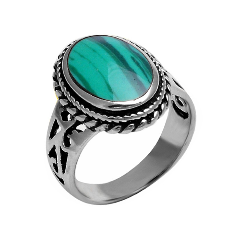 925 Sterling Silver Cabochon Oval Shape Malachite Gemstone Black Oxidized Ring Jewelry