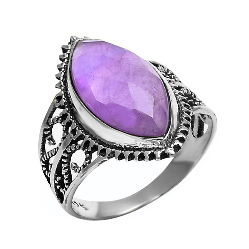 925 Sterling Silver Faceted Amethyst Marquise Shape Gemstone Filigree Style Designer Ring