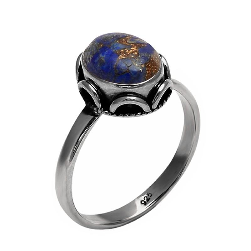 Oval Cabochon Lapis Lazuli Gemstone 925 Sterling Silver Handmade Ring Jewelry