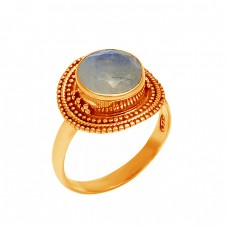 Round Shape Rainbow Moonstone Handcrafted Designer 925 Silver Black Oxidized Ring