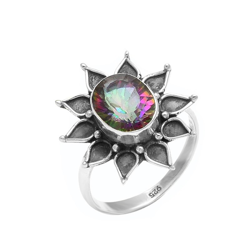 925 Sterling Silver Oval Shape Mystic Topaz Gemstone handmade Black Oxidized  Ring