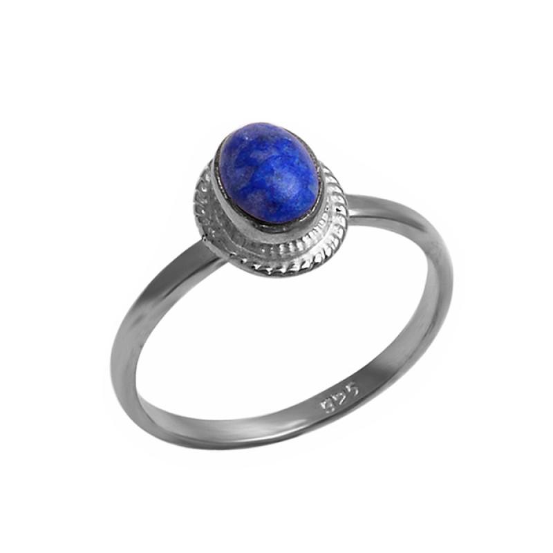 Oval Shape Lapis Lazuli Gemstone 925 Sterling Silver Handmade Designer Ring