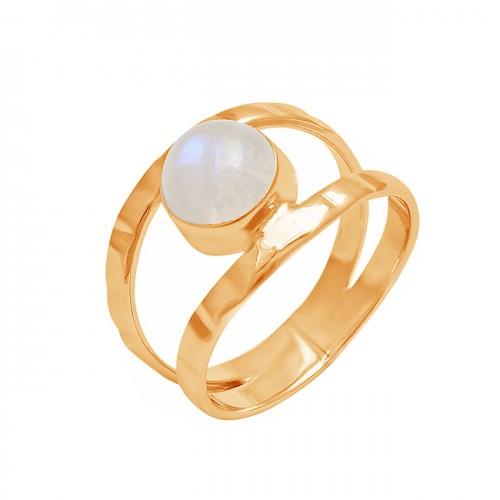 Round Shape Rainbow Moonstone 925 Sterling Silver Handmade Designer Ring