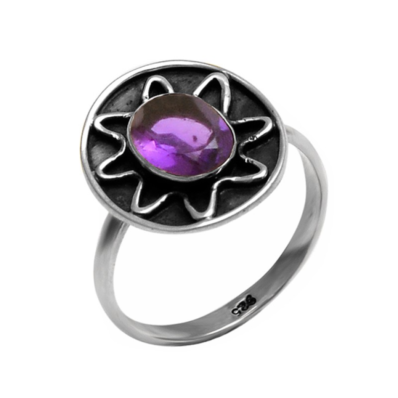 925 Sterling Silver Oval Cabochon Amethyst Gemstone Black Oxidized Ring Jewelry