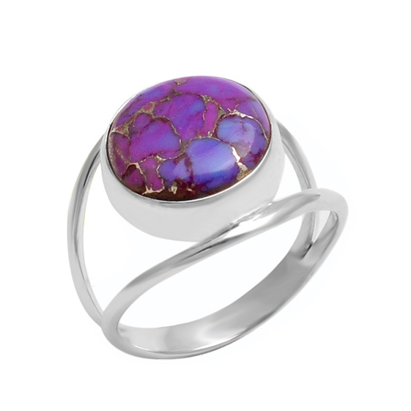 Round Shape Purple Copper Turquoise Gemstone 925 Sterling Silver Ring Jewelry