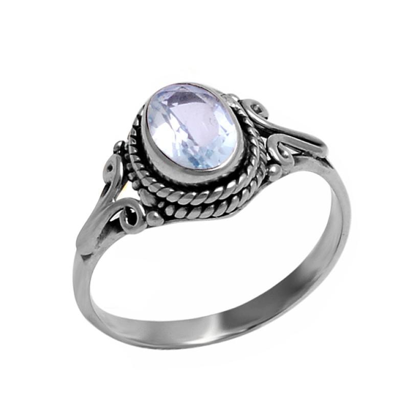 925 Sterling Silver Blue Topaz Oval Shape Gemstone Handmade Designer Ring