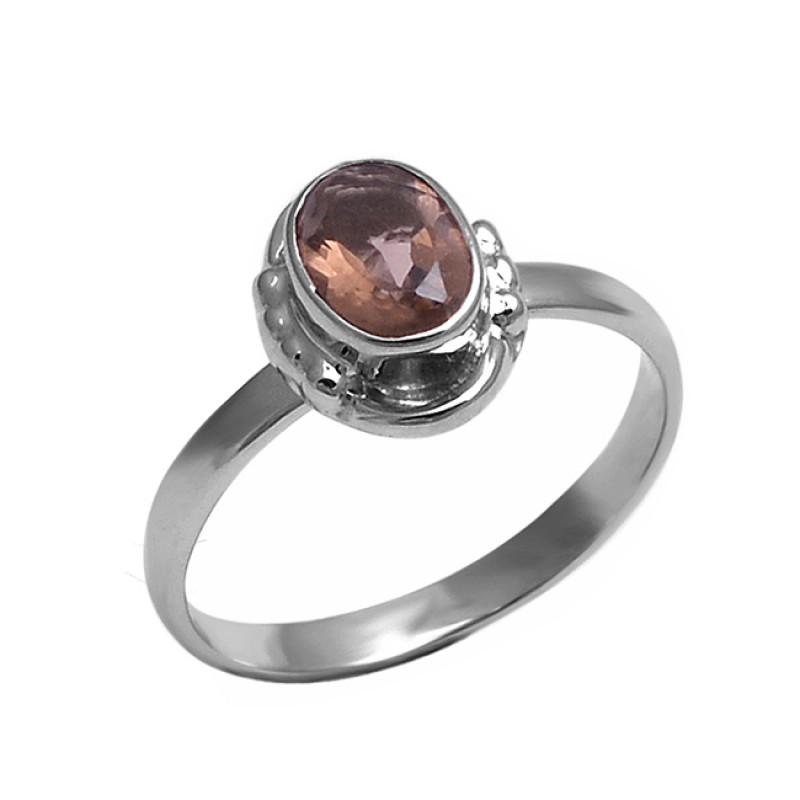 Smoky Quartz Oval Shape Gemstone 925 Sterling Silver Handmade Designer Ring