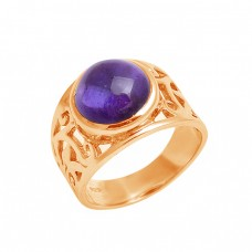 Cabochon Round Shape Amethyst Gemstone 925 Sterling Silver Ring