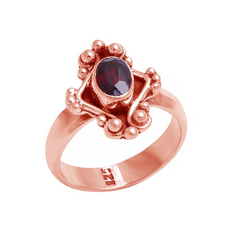 Oval Shape Garnet Gemstone 925 Sterling Silver Black Oxidized Ring Jewelry
