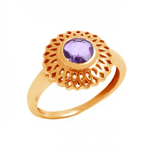 Stylish Handcrafted Designer Round Shape Amethyst Gemstone 925 Sterling Silver Ring