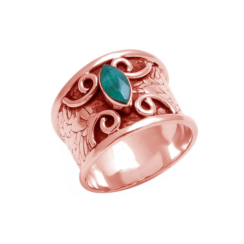 925 Sterling Silver Emerald Marquise Shape Gemstone Black Oxidized Designer Ring