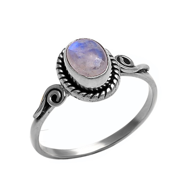 925 Sterling Silver Oval Shape Rainbow Moonstone Black Oxidized Ring Jewelry