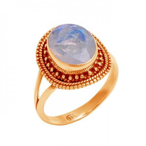 925 Sterling Silver Rainbow Moonstone Oval Shape Black Oxidized Designer Ring