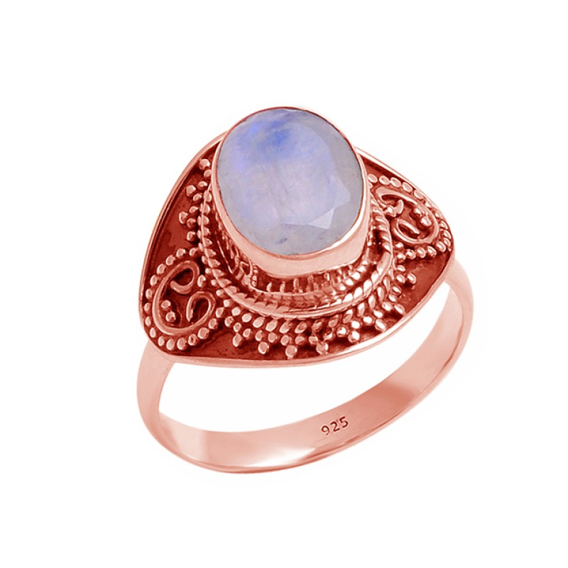 Oval Cabochon Rainbow Moonstone 925 Sterling Silver Designer Black Oxidized Ring