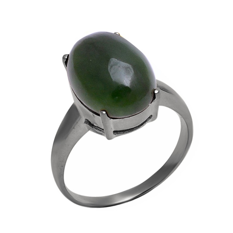 925 Sterling Silver Green Jade Oval Shape Gemstone Prong Setting Ring Jewelry