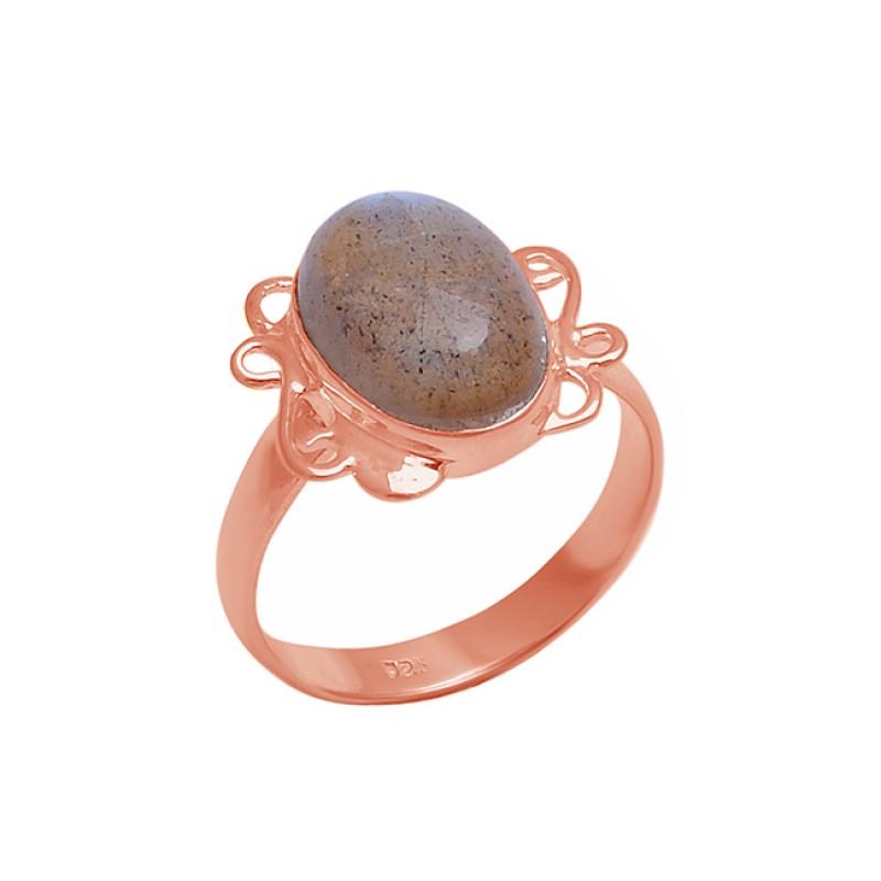 Oval Cabochon Labradorite Gemstone 925 Sterling Silver Handmade Ring Jewelry