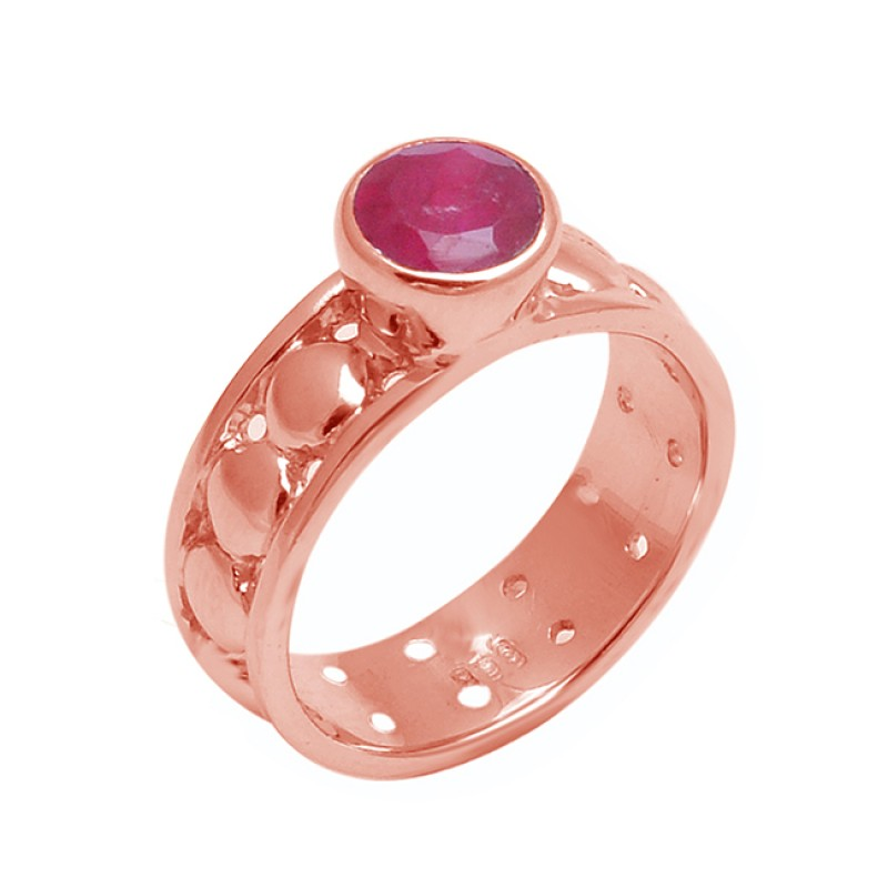 Faceted Round Shape Ruby Gemstone 925 Sterling Silver Ring Jewelry