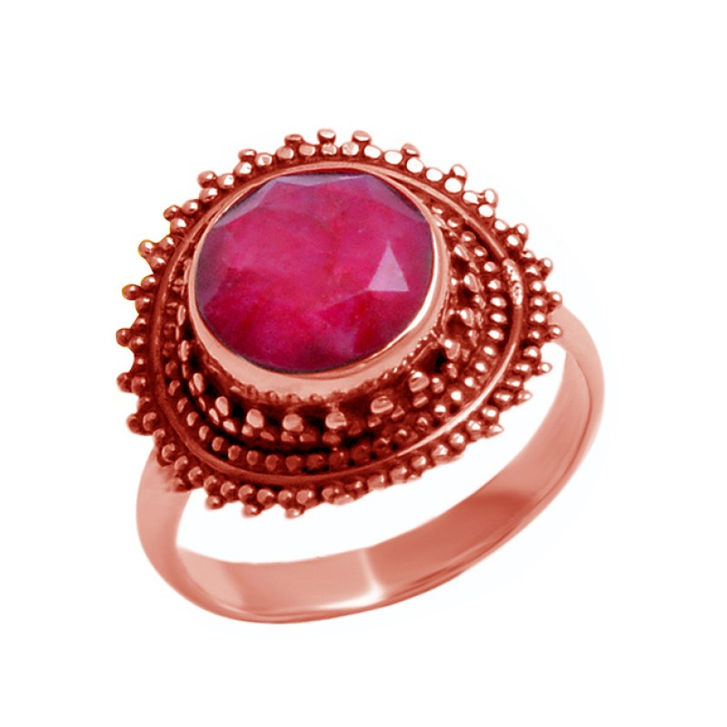 Faceted Round Ruby Gemstone 925 Sterling Silver Handmade Black Oxidized Ring Jewelry