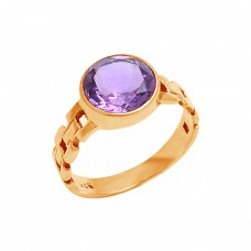Round Shape Amethyst Gemstone 925 Sterling Silver Designer Ring Jewelry