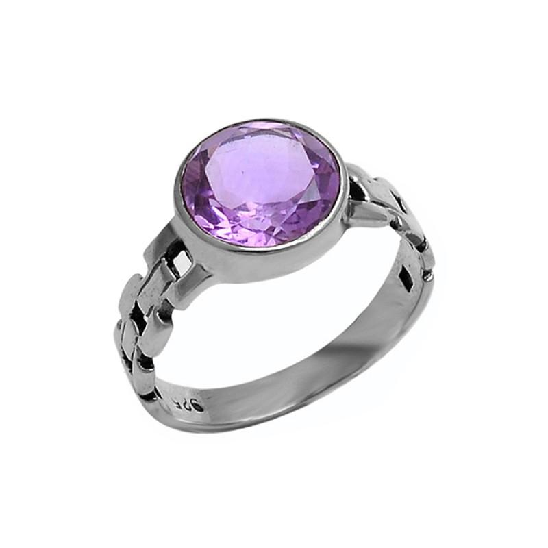 Round Shape Amethyst Gemstone 925 Sterling Silver Designer Ring Jewelry