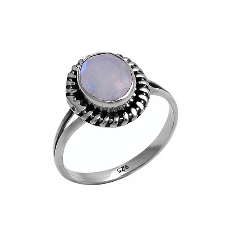 Oval Shape Rainbow Moonstone 925 Sterling Silver Black Oxidized Ring Jewelry