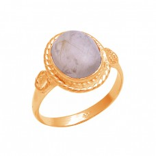 Oval Shape Golden Rutile Quartz Gemstone 925 Sterling Silver Designer Ring
