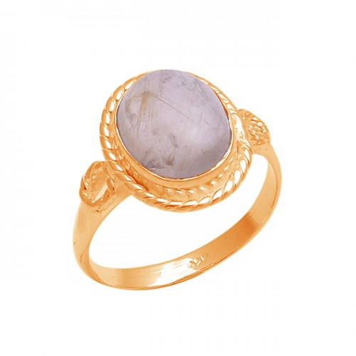 Oval Shape Golden Rutile Quartz Gemstone 925 Sterling Silver Designer Ring