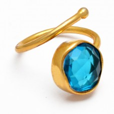 Round Shape Blue Quartz Gemstone 925 Silver Gold Plated Band Designer Ring