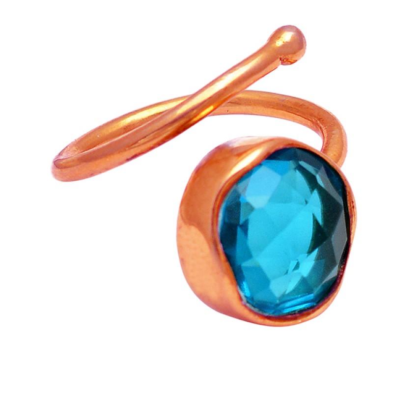 Round Shape Blue Quartz Gemstone 925 Silver Gold Plated Band Designer Ring
