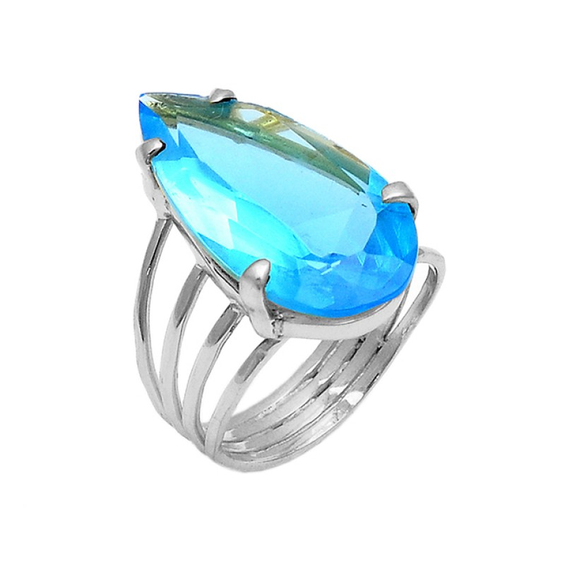 Faceted Pear Shape Blue Topaz Gemstone 925 Sterling Silver Gold Plated Ring