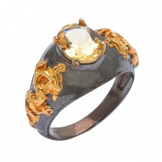 925 Sterling Silver Faceted Oval Shape Citrine Gemstone Black Rhodium Ring Jewelry
