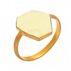 Lemon Quartz Fancy Shape Gemstone 925 Sterling Silver Gold Plated Ring Jewelry