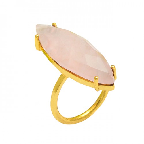 Marquise Shape Rose Chalcedony Gemstone 925 Sterling Silver Gold Plated Ring