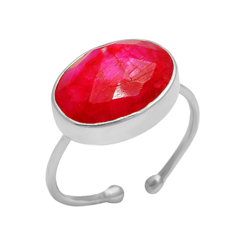 925 Sterling Silver Oval Shape Ruby Gemstone Gold Plated Adjustable Ring