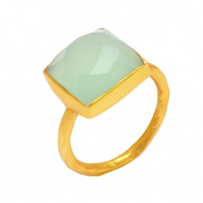 925 Sterling Silver Cushion Shape Aqua Chalcedony Gemstone Gold Plated Ring