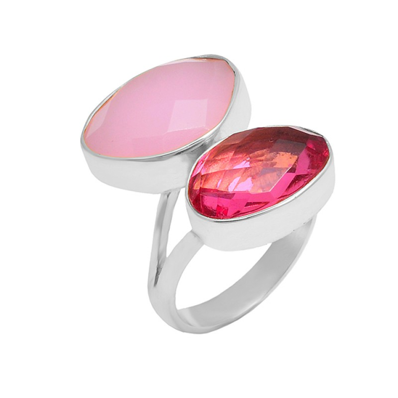 Oval Shape Pink Quartz Rose Chalcedony Gemstone 925 Silver Gold Plated Ring