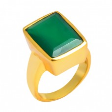 Green Onyx Rectangle Shape Gemstone 925 Sterling Silver Gold Plated Ring Jewelry