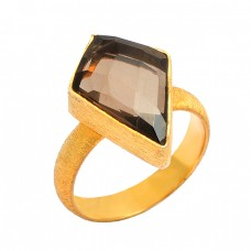 Kite Shape Smoky Quartz Gemstone 925 Sterling Silver Gold Plated Designer Ring