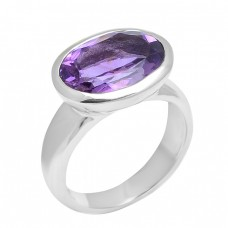 Faceted Oval Shape Amethyst Gemstone 925 Sterling Silver Designer Ring