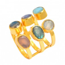 Multi Color Gemstone 925 Sterling Silver Gold Plated Handmade Designer Ring