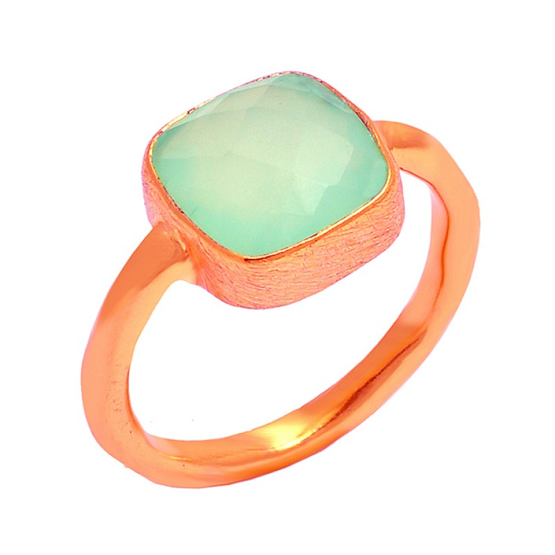 925 Sterling Silver Cushion Shape Chalcedony Gemstone Gold Plated Ring Jewelry
