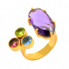 925 Sterling Silver Multi Color Faceted Gemstone Gold Plated Designer Ring jewelry