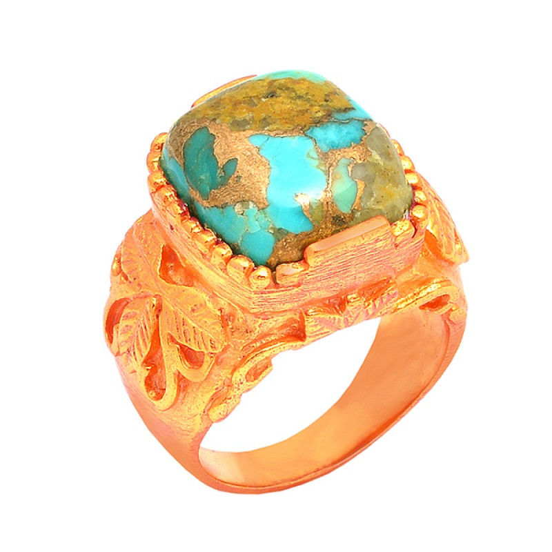 Turquoise Cushion Shape Gemstone 925 Silver Gold Plated Handmade Ring Jewelry