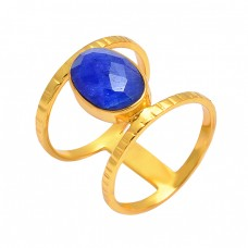 Oval Shape Lapis Lazuli Gemstone 925 Sterling Silver Gold Plated Hammered Ring