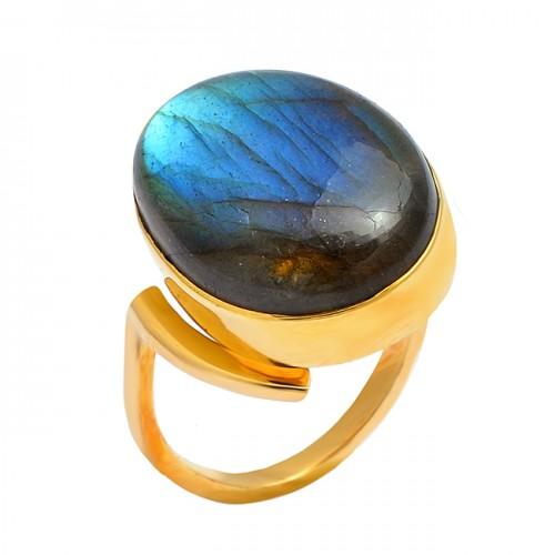 Oval Shape Labradorite Gemstone 925 Sterling Silver Gold Plated Designer Ring